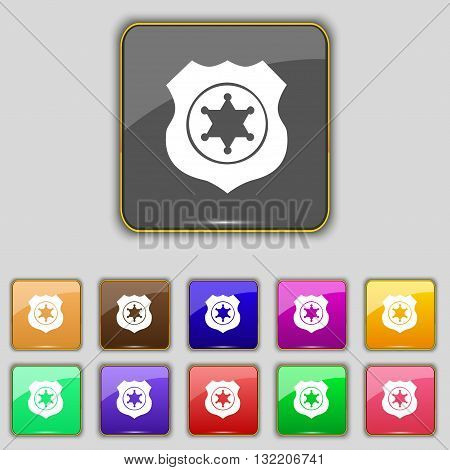 Sheriff, Star Icon Sign. Set With Eleven Colored Buttons For Your Site. Vector