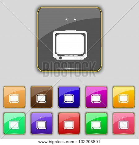 Tv Icon Sign. Set With Eleven Colored Buttons For Your Site. Vector