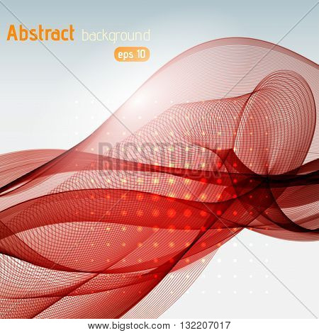 Abstract Technology Background With Stripes. Vector Illustration. Red, Brown Colors.