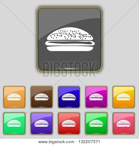 Burger, Hamburger Icon Sign. Set With Eleven Colored Buttons For Your Site. Vector