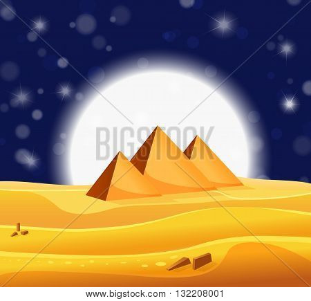 Cartoon Egyptian pyramids in the desert with star night sky. Vector illustration