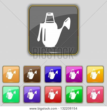 Watering Can Icon Sign. Set With Eleven Colored Buttons For Your Site. Vector