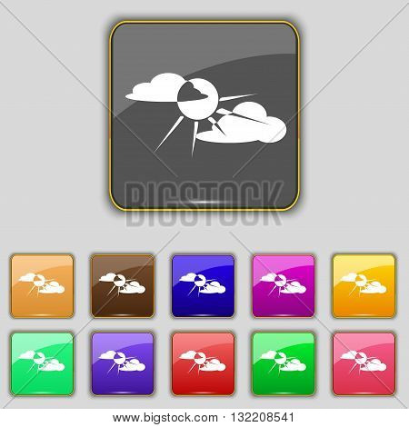 Sun Behind Cloud Icon Sign. Set With Eleven Colored Buttons For Your Site. Vector