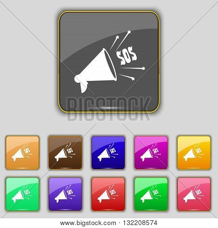 Sos Web Speaker Icon Sign. Set With Eleven Colored Buttons For Your Site. Vector