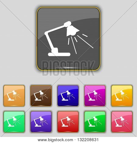Reading-lamp Icon Sign. Set With Eleven Colored Buttons For Your Site. Vector