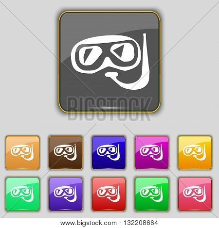 Diving Icon Sign. Set With Eleven Colored Buttons For Your Site. Vector