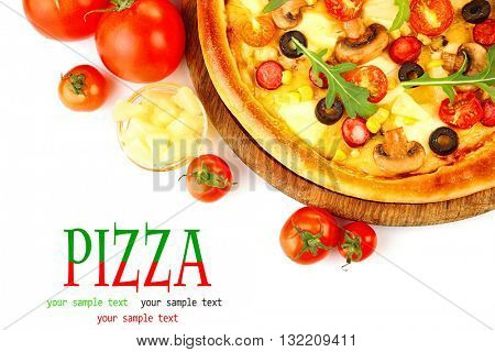 Delicious pizza with vegetables isolated on white