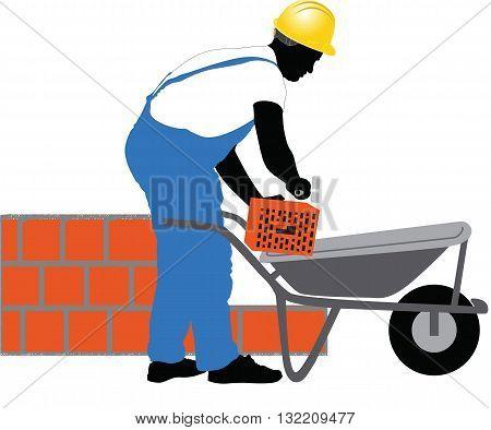 construction worker puts a brick vector illustration