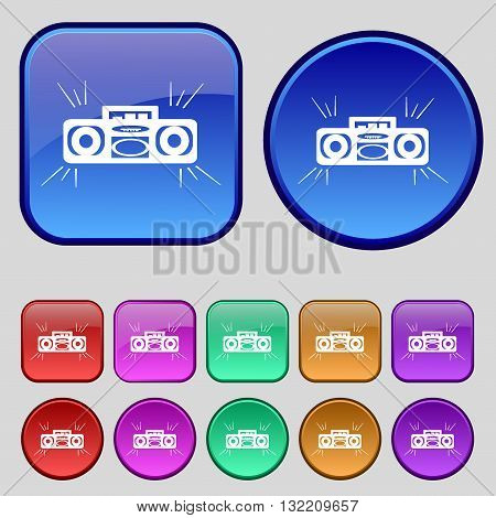 Radio Cassette Player Icon Sign. A Set Of Twelve Vintage Buttons For Your Design. Vector