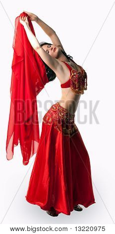 Woman in dance with red veil