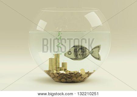 Dollar bill in form of a fish in aquarium 3D Rendering