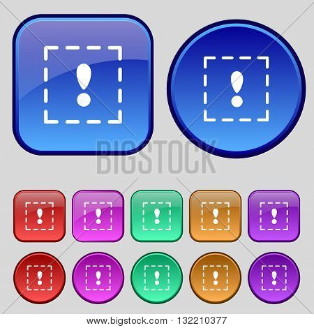The Exclamation Point In A Square Icon Sign. A Set Of Twelve Vintage Buttons For Your Design. Vector