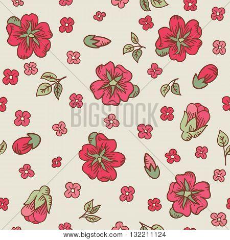Vector Vintage Doodle Flowers Seamless Pattern