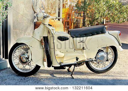 Genova, Italy - March 03, 2016: Moto Guzzi Galletto 192 italian old Scooter.