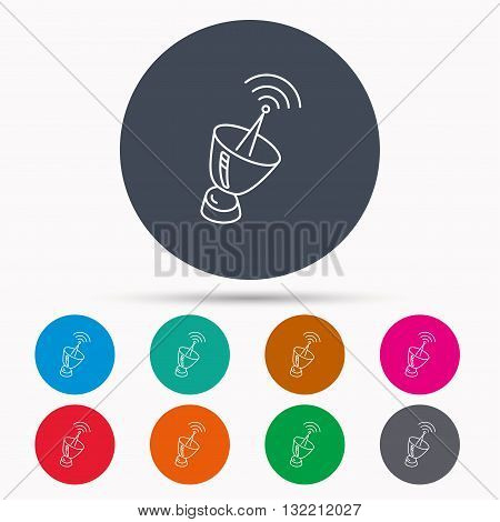 Antenna icon. Sputnik satellite sign. Radio signal symbol. Icons in colour circle buttons. Vector
