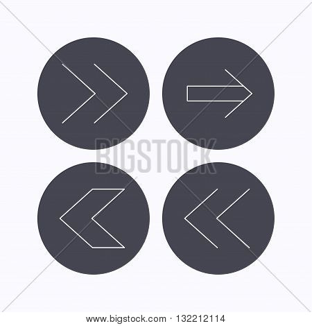 Arrows icons. Left, right direction linear signs. Next, back arrows flat line icons. Flat icons in circle buttons on white background. Vector