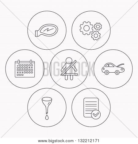 Car mirror repair, oil change and seat belt icons. Fasten seat belt linear sign. Check file, calendar and cogwheel icons. Vector