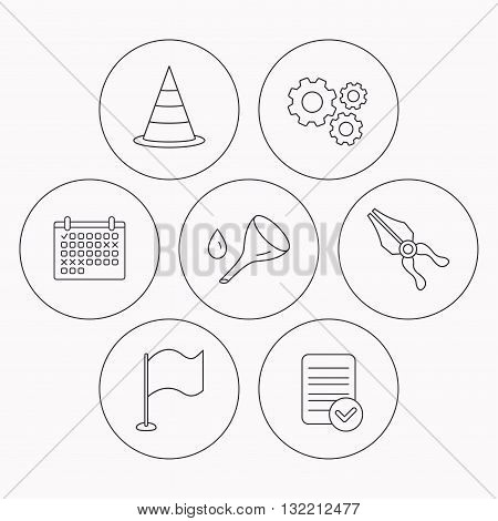 Flag, traffic cone and oil change icons. Pliers linear sign. Check file, calendar and cogwheel icons. Vector