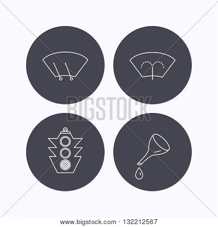 Motor oil change, traffic lights and wiper icons. Washing window, windscreen wiper linear signs. Flat icons in circle buttons on white background. Vector