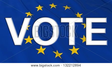 Brexit Vote - White Vote text cut out of UK Flag - 3D Illustration