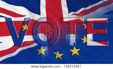 Brexit Vote - Vote text cut out of UK and EU Flags - 3D Illustration