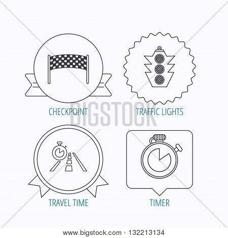 Checkpoint, traffic lights and timer icons. Travel time, road linear signs. Award medal, star label and speech bubble designs. Vector