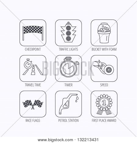 Race flags and speed icons. Winner medal, checkpoint and traffic lights linear signs. Timer and petrol station flat line icons. Flat linear icons in squares on white background. Vector