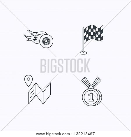 Race flag, map and winner award icons. First place medal, wheel on fire linear signs. Flat linear icons on white background. Vector