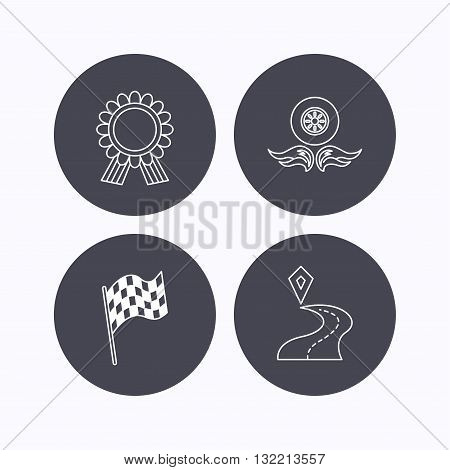 Winner award medal, destination and flag icons. Race flag, wheel on fire linear signs. Flat icons in circle buttons on white background. Vector