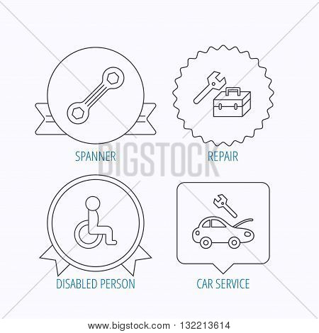 Repair toolbox, spanner tool and car service icons. Disabled person linear sign. Award medal, star label and speech bubble designs. Vector