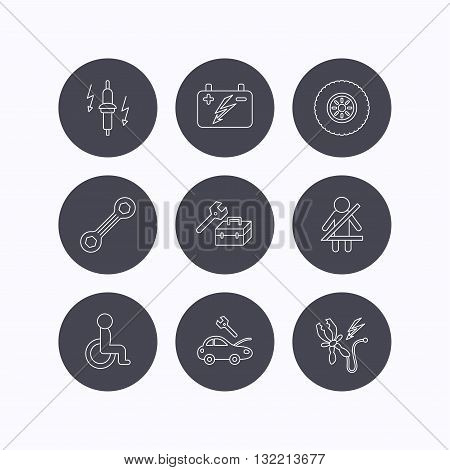 Accumulator, spanner tool and car service icons. Repair toolbox, wheel and spark plug linear signs. Disabled person, battery terminal icons. Flat icons in circle buttons on white background. Vector