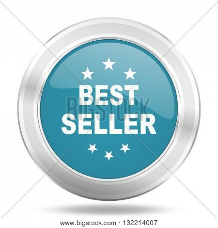 best seller icon, blue round metallic glossy button, web and mobile app design illustration
