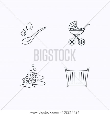 Pram carriage, spoon and drops icons. Bubbles, crib bed linear signs. Flat linear icons on white background. Vector
