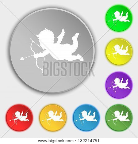 Cupid Icon Sign. Symbol On Eight Flat Buttons. Vector