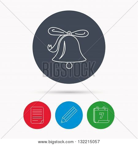 Ringing jingle bell icon. Sound sign. Alarm handbell symbol. Calendar, pencil or edit and document file signs. Vector
