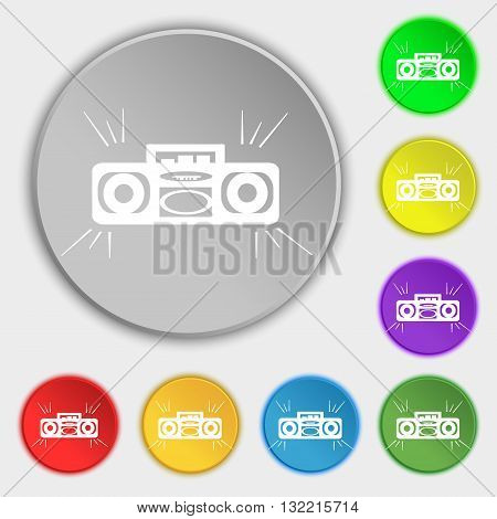 Radio Cassette Player Icon Sign. Symbol On Eight Flat Buttons. Vector