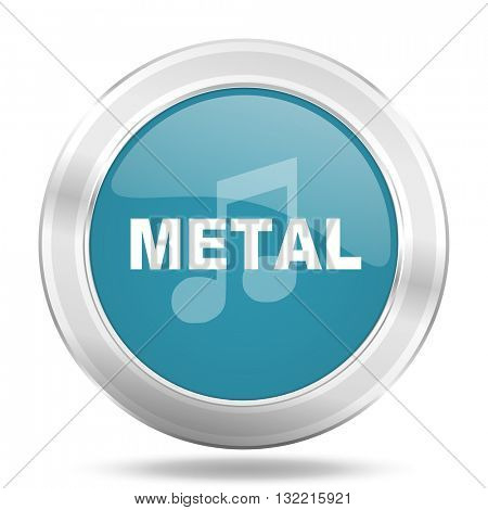 metal music icon, blue round metallic glossy button, web and mobile app design illustration