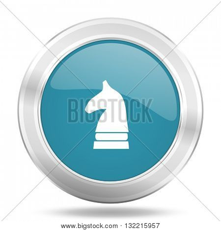 chess horse icon, blue round metallic glossy button, web and mobile app design illustration