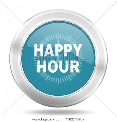 happy hour icon, blue round metallic glossy button, web and mobile app design illustration