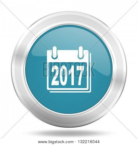 new year 2017 icon, blue round metallic glossy button, web and mobile app design illustration