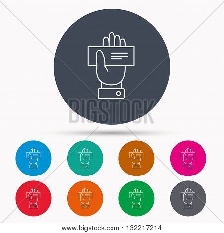 Cheque icon. Giving hand sign. Paying check in palm symbol. Icons in colour circle buttons. Vector