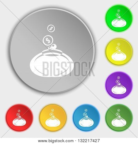 retro purse icon sign. Symbol on eight flat buttons. Vector illustration
