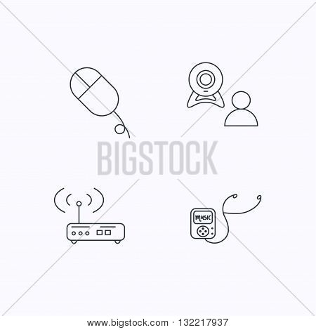 Wi-fi router, video chat and music player icons. PC mouse linear sign. Flat linear icons on white background. Vector