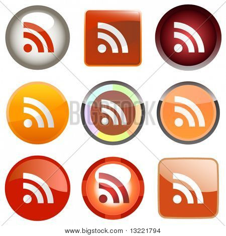 RSS glossy buttons. Vector illustration.