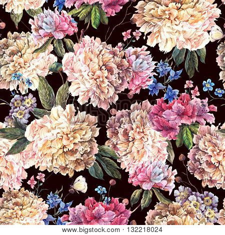 Gentle Decoration Vintage Floral Watercolor Seamless Pattern with Blooming White Peonies and Wild Flowers Watercolor Botanical Natural Peonies Illustration on black.