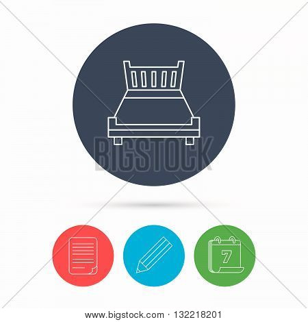 Double bed icon. Sleep symbol. Calendar, pencil or edit and document file signs. Vector