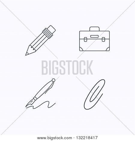 Briefcase, pencil and safety pin icons. Pen linear sign. Flat linear icons on white background. Vector