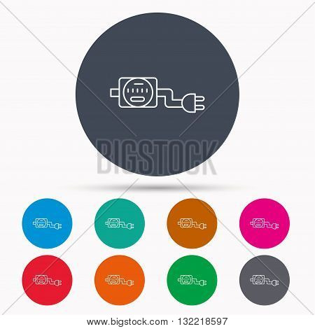 Electric counter icon. Electricity with plug sign. Icons in colour circle buttons. Vector