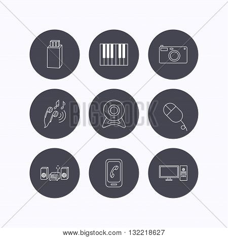 Smartphone, web camera and USB flash icons. Headphones, piano and photo camera linear signs. Computer, music center icons. Flat icons in circle buttons on white background. Vector