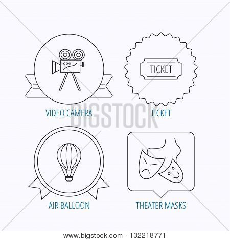 Video camera, ticket and theatre masks icons. Air balloon linear sign. Award medal, star label and speech bubble designs. Vector